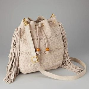 LINEA PELLE tan boho fringed soft suede bucket bag
